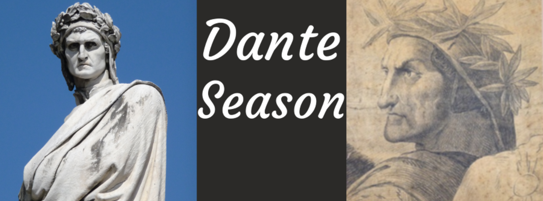 Two images of dante in robes and wreath around his head border black rectangle which states the title