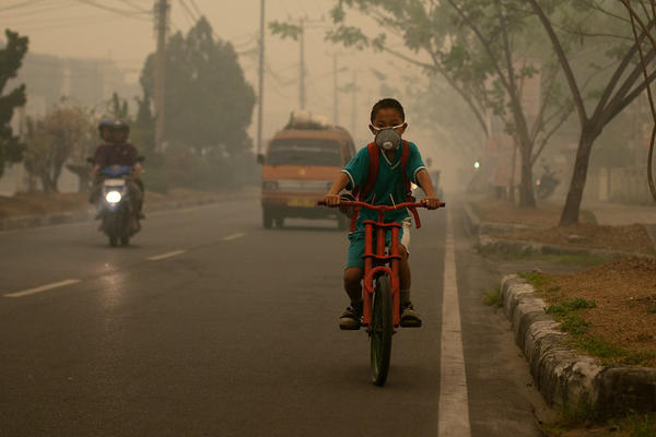 a boy with a mask in smog