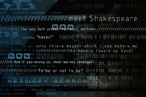 Famous quotes by Shakespeare on a dark coding background