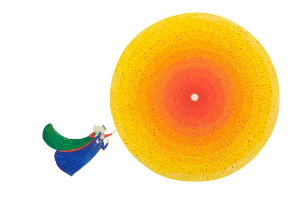 A white background with two medieval figures, Dante in blue and Beatrice in green, fly towards a large circle which gradients from yellow to red at its centre