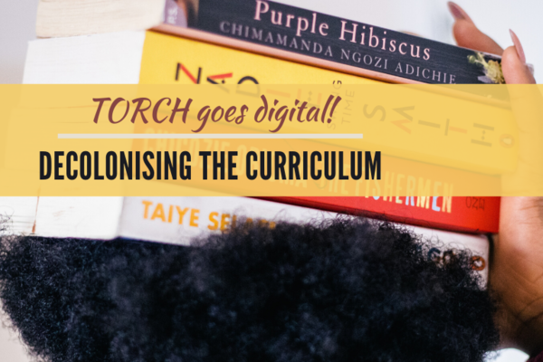 Decolonising the Curriculum poster, yellow background, Woman holding books on her hair.