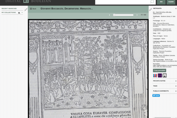 screenshot of website showing decameron printed in venice