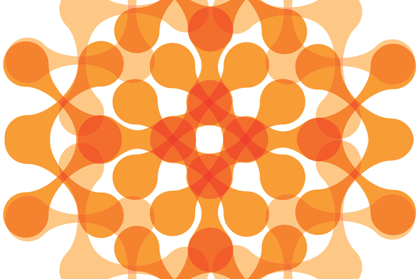 Orange networked snowflake abstract design