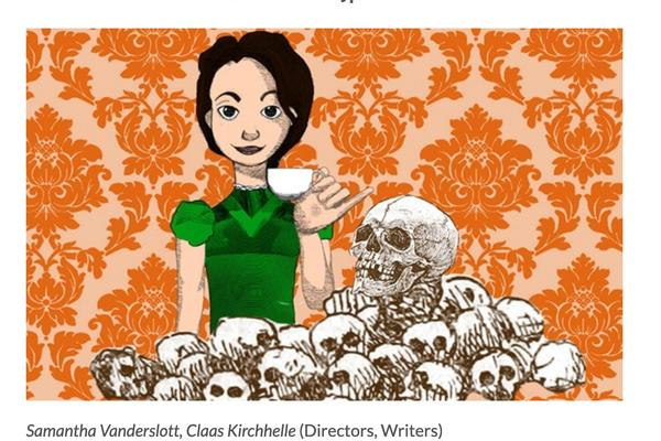 Illusrtation of a girl holding a cup of tea in front of elaborate orange wall paper. She is surrounded by a pile of skulls.