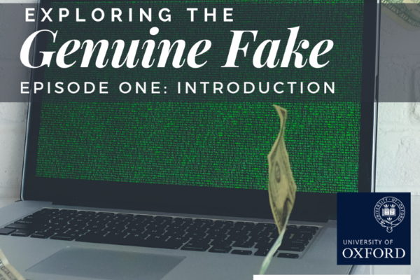 Laptop with green screen and money floating around it. Text reads: Exploring the Genuine Fake