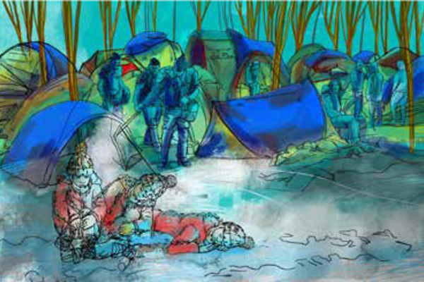 Drawing of tents and people huddled together at Calais 'Jungle'