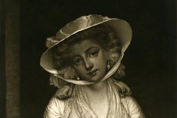 black and white sketch of woman dressed in 18th century clothing including hat and neck scarf