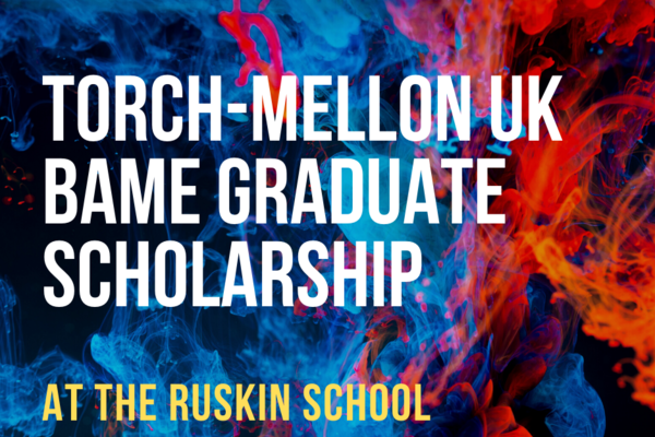 image of torch mellon uk bame graduate scholarship advertisement with blue and red backdrop