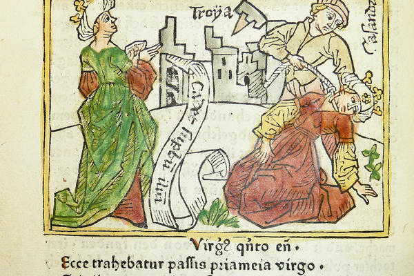 woodcut illustration of cassandras prophecy of the fall of troy on the left and her death at right