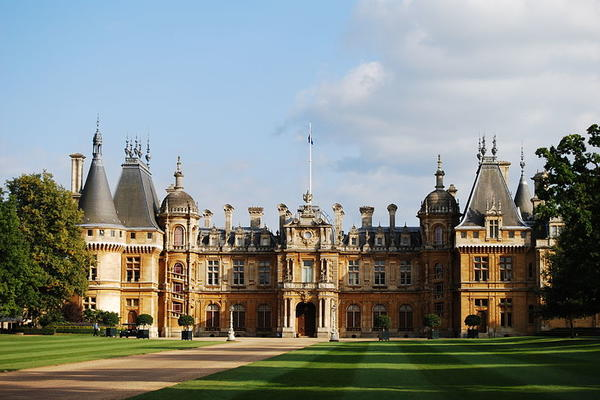 Sunny day shining on Waddesdon Manor, England.