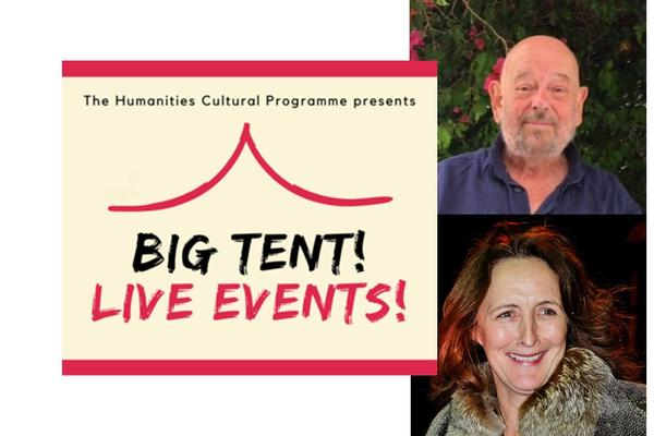 Image of Oliver Taplin and Fiona Shaw with the cream and red logo of Big Tent! Live Events