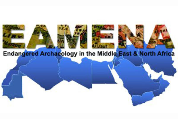 EAMENA stands for Endangered Archaeology in the Middle East and North Africa. In the logo the acronym is written against a blue map of the aforementioned regions.