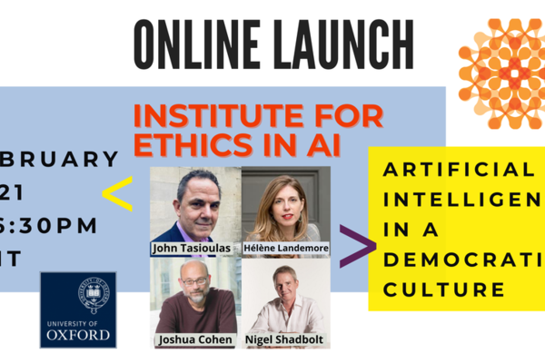 ethics in ai launch event  - graphic with images of the 4 speakers at the event