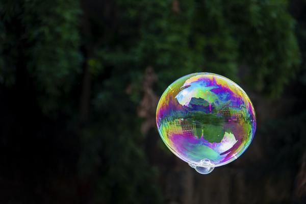 Image of a large multi-coloured bubble floating against a background of foliage