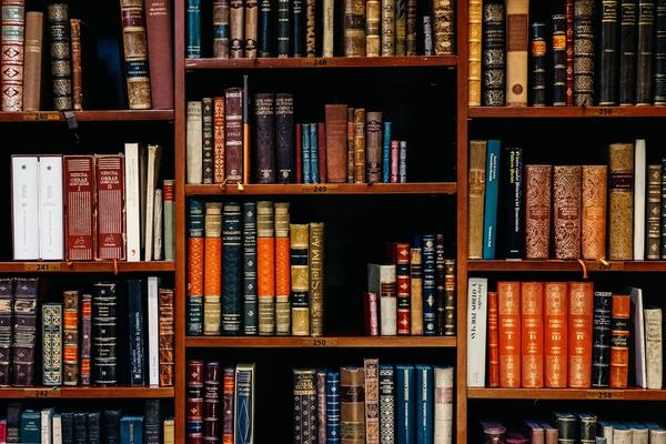 Close up of books in library