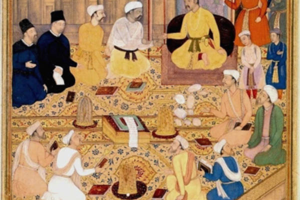 islamic painting of community praying within walls