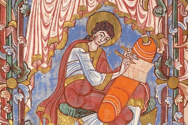 Medieval manuscript image of woman writing on top of orange cushion