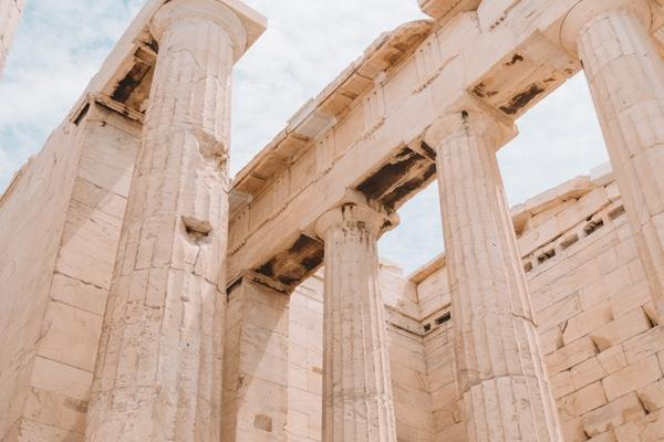 Detail of Propyleia on the Athenian Acropolis, image of columns looking up to the sky