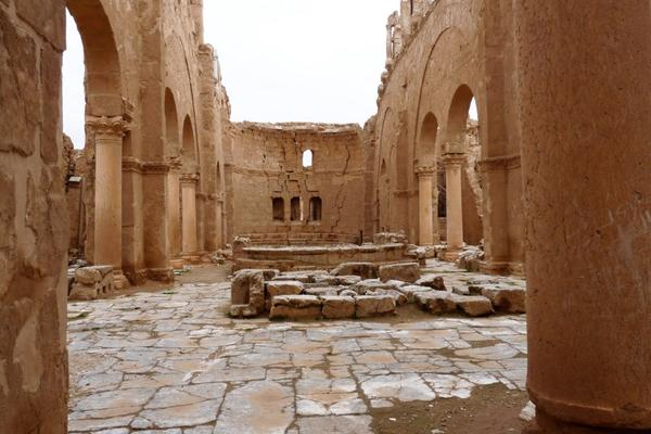 Central aisle of the Church of St Sergius, facing the apse.