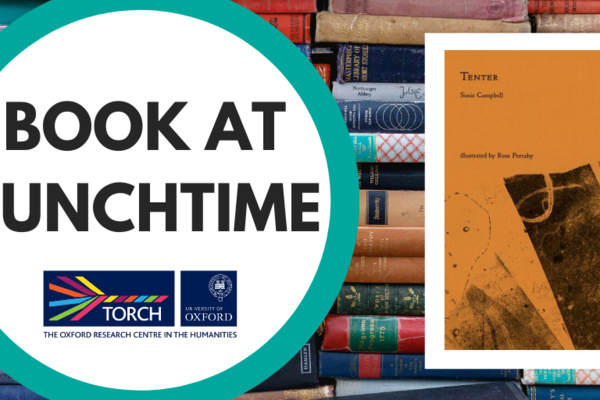 Colourful image of books with Book at Lunchtime circular logo and an image of the yellow front cover of the book Tenter