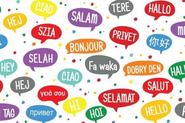 The future of languages logo depicting different coloured speech bubbles with the word 'Hi' translated in 32 languages.