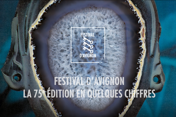 Logo for the Festival D'Avingon, showing a series of textured circles inside each other and some illustrated keys in white.
