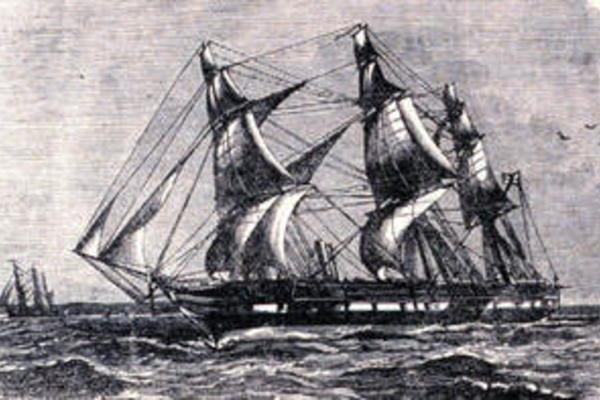 etching of the ship the challenger at sea