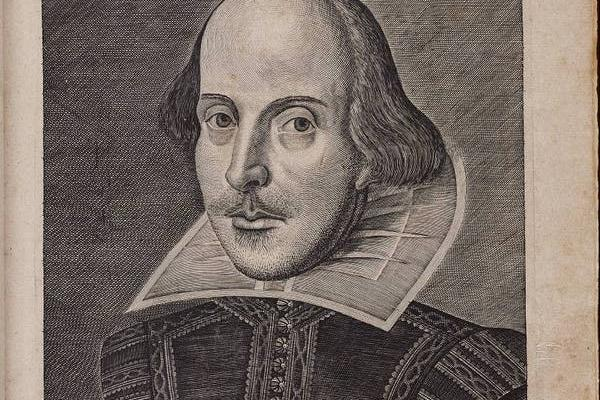 Title page of the First Folio, by William Shakespeare, with copper engraving of the author by Martin Droeshout