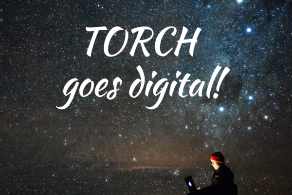 Torch goes digital! On a starry background with TORCH logo.