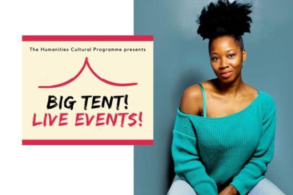Jamelia photo next to the cream and red Big Tent! Live Events! logo
