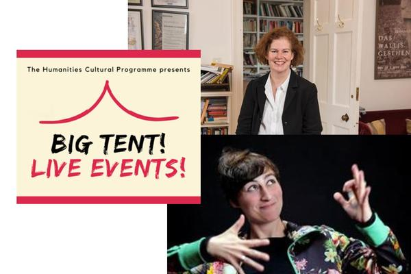 Karen J. Leeder and Ulrike Almut Sandig next to cream and red logo of Big Tent! Live Events!