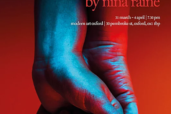 "Poster for ""Consent"" of two clasped hands against a blurry red backdrop, text reads ""Consent by Nina Raine, Marriage isn't perfect, but it's all we've got"""
