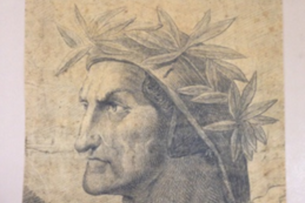 Drawing of Dante with plant headress.