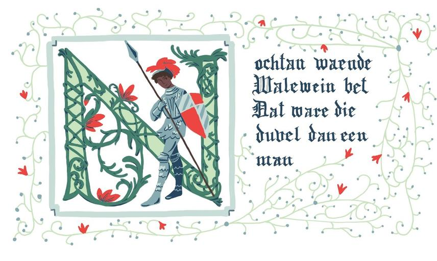 medieval manuscript image of a black knight with Latin next to it, decorative green foliage border