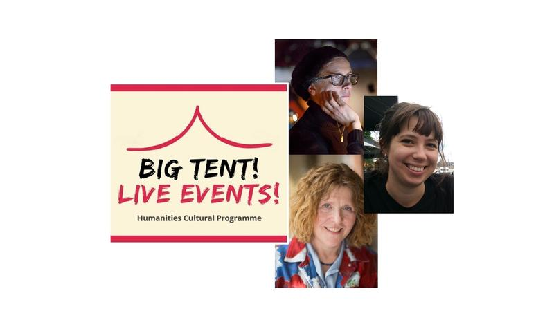 Big Tent Live Event logo with images on the right of Katie Mitchell, Catherine Love and Fiona Stafford