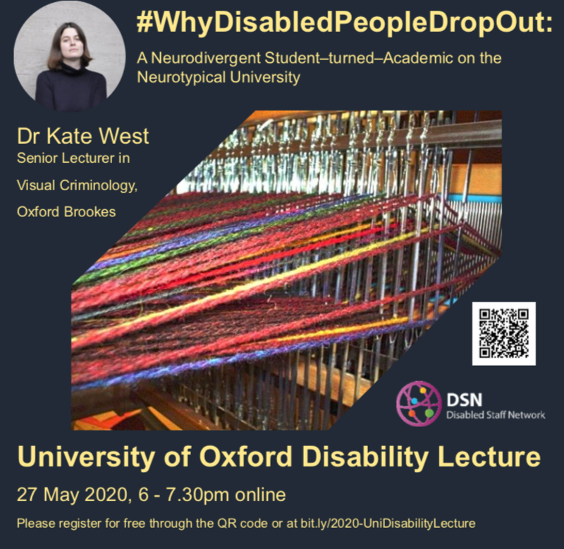 Oxford University 2020 Disability Lecture Poster, photo of loom with weaving on it, grey background, yellow text