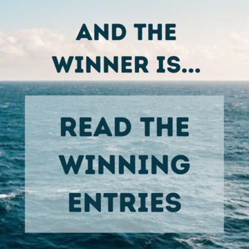 bottom two thirds of the image is ocean, top third is sky. Writing reads 'and the winner is... Read the winnning entries'