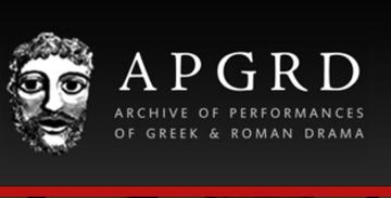 Ancient drama mask in black and white on left, APGRD letter on right