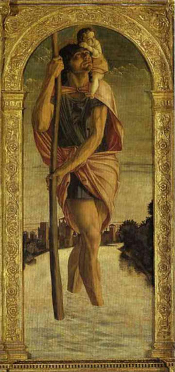 christopher by bellini with gold frame.  christopher looks up to the right, walking oon water.