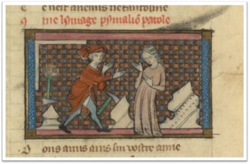Medieval Script image of a man supplicating a woman