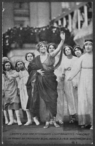 liberty and her attendants  suffragettes tableau 276006v