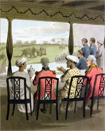 poster marquis wellesley and his suite at the nabob of oudes breakfast table viewing an elephant fight 410152