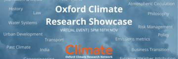 blue background with climate crisis themed words randomly surrounding the title of the event