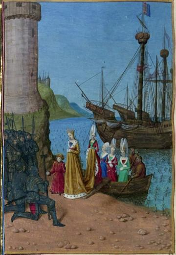 Isabella, in a yellow dress, with the ladies in her custody, in blue, green, and red dresses, disembark from a boat and address the soldiers waiting for them.