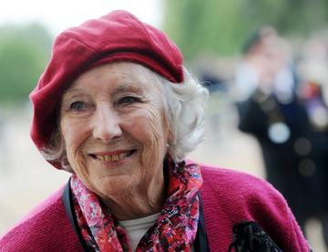vera lynn wearing pink hat and coat
