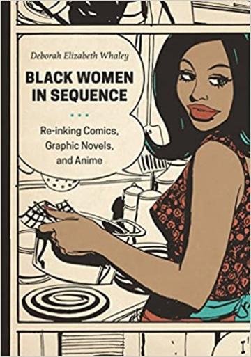 cartoon of a black woman drying dishes with title