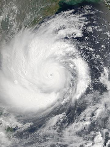 Cycone Amphan image showing eye of storm nearing India and Bangladesh