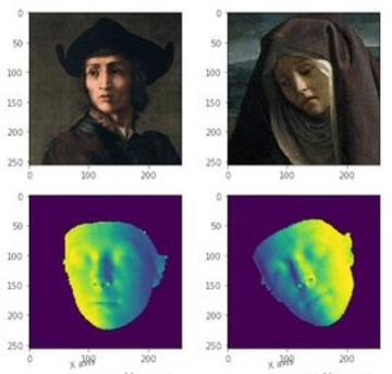 four images, top 2 are renaissance painitings, the bottom two are a contoured map of the faces of the two images above