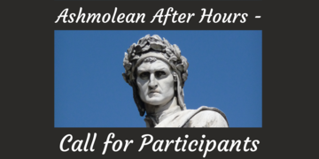 Publicity image for 'Ashmolean After Hours' with a the head of a marble statue of Dante against a blue background