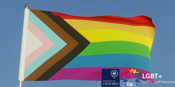 Image of a Pride flag, with logos for University of Oxford and the LGBT+ Staff Network